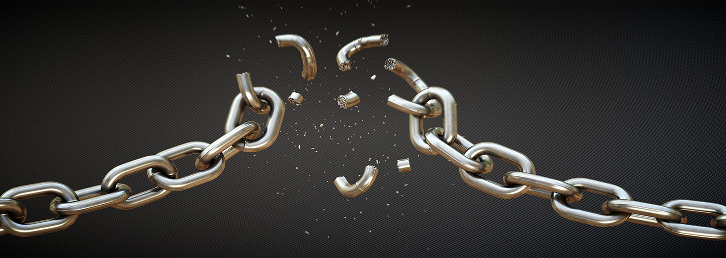 image of broken metal chain